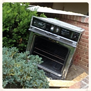 And my personal favorite... who ever knew that old wall ovens could add such a lovely sparkle to your landscaping?